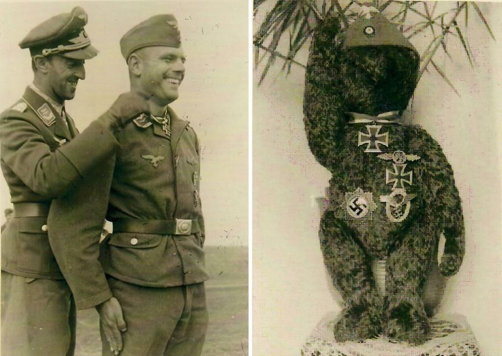 Die Aufnahme von dem hoch dekorierten Teddybären ( Hersteller Steif) ist vom Umfeld her sicher in der Heimat, während des Ritterkreuz-Sonderurlaubes geschossen worden.