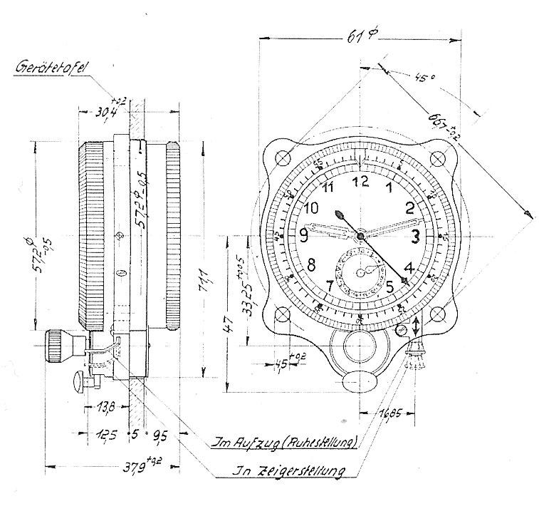 Fleig/RLM - Technische Baumusterzeichnung Borduhr