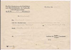 Fotokopie der interessanten Abschussurkunde vom RLM